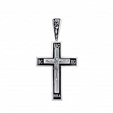 Серебряный крестик Молитва с эмалью