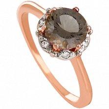Золотое кольцо с раухтопазом и фианитами Ада