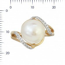 Кольцо из красного золота Оливия с жемчугом и бриллиантами