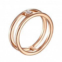 Кольцо с двойной шинкой из красного золота с кристаллом Swarovski 000129144