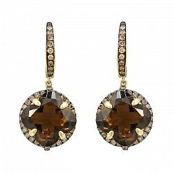 Серьги-подвески из желтого золота с коньячными бриллиантами и раухтопазом 000081088