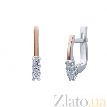 Серебряные серьги Ривьера с золотом и цирконием AQA--Г0223С