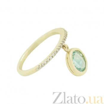 Золотое кольцо с зеленым гранатом и цирконием Мод 2К765-0010