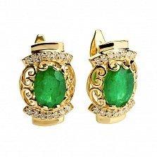 Золотые серьги с изумрудами и бриллиантами Императрица