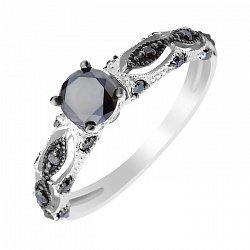 Кольцо в белом золоте с черными бриллиантами 000104133