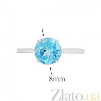 Золотое кольцо с голубым топазом Небеса 000026874