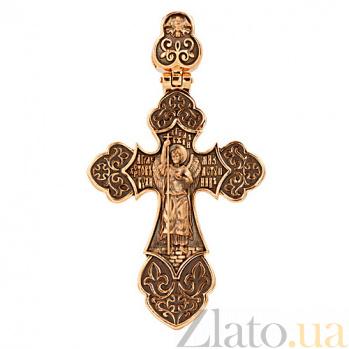 Золотой крестик с черным родированием Архангел VLT--КС3036-3