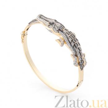 Золотой браслет Крокодильчик с фианитами 000082252