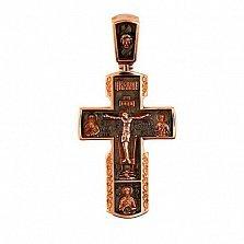 Золотой крестик с черным родием Милосердие