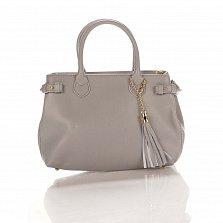 Кожаная деловая сумка Genuine Leather 8927 серого цвета на молнии, с декоративной кистью