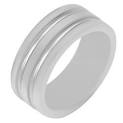 Белое керамическое кольцо со вставками белого золота 000040662