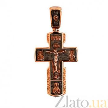 Золотой крестик с черным родием Милосердие VLT--КС3003-3