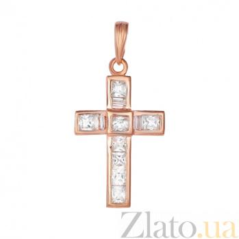 Серебряный крестик с фианитами Агнесса 000028699