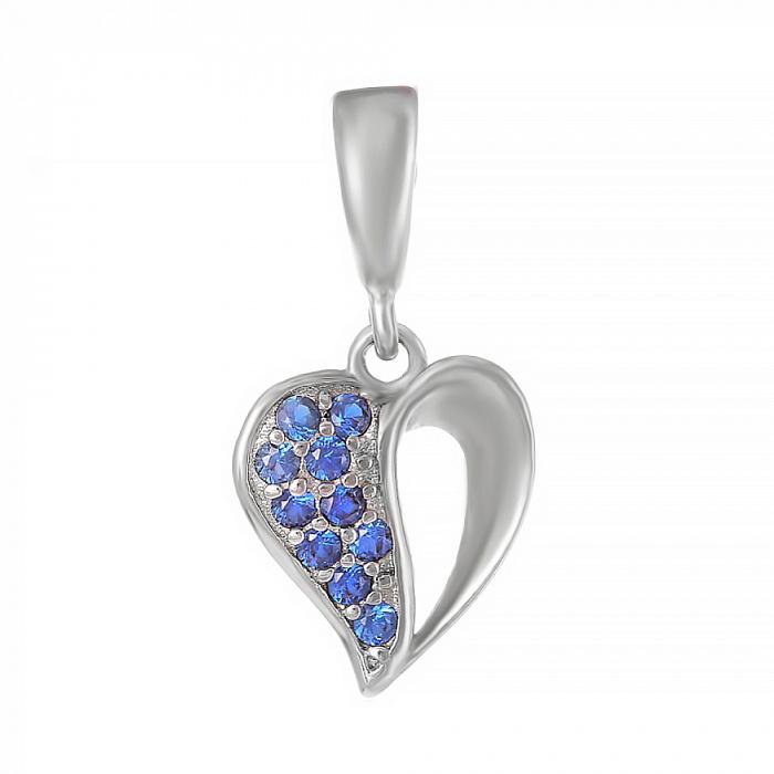 Серебряный подвес Сердце в любви с синими фианитами 000028616