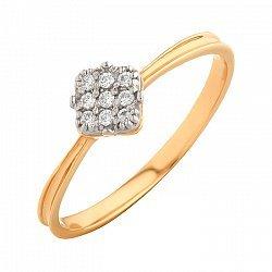 Золотое кольцо Ромбик с белыми фианитами 000071581