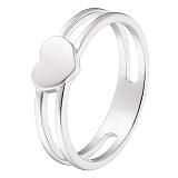 Кольцо Сердце в белом золоте