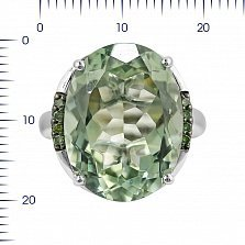 Кольцо из белого золота Морина с зеленым кварцем и бриллиантами