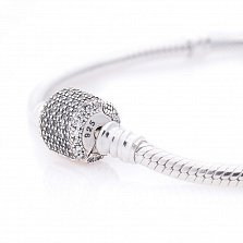 Серебряный браслет для шармов Анастасия с фианитами