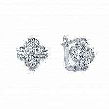 Серебряные серьги Клевер-четырехлистник с фианитами в стиле Ван Клиф