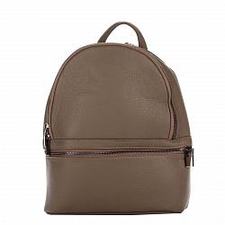 Кожаный рюкзак Genuine Leather 8482 цвета тауп с дополнительным карманом на молнии