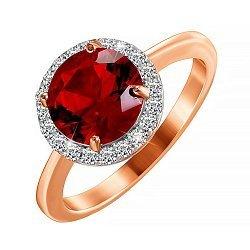 Позолоченное серебряное кольцо с фианитом цвета граната 000028425