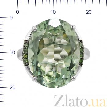 Кольцо из белого золота Морина с зеленым кварцем и бриллиантами 000080894
