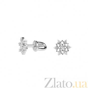 Серебряные серьги-пуссеты Анжелика с бриллиантами 000022340