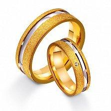 Золотое обручальное кольцо Единственная любовь с фианитом