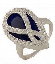 Серебряное кольцо Корнелия с синтезированным сапфиром и фианитами