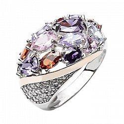 Серебряное кольцо камней с золотой вставкой и фианитами 000094597