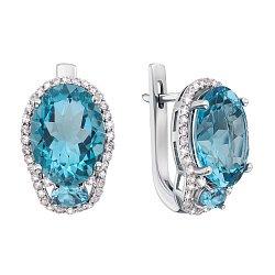Серебряные серьги с голубым кварцем и цирконием 000134629