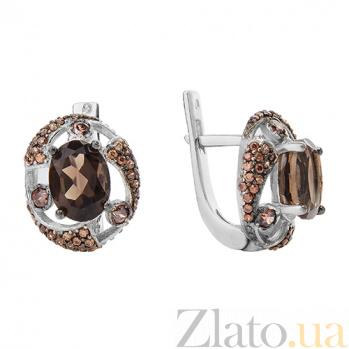 Серебряные серьги с дымчатым кварцем Эмилио 000029198