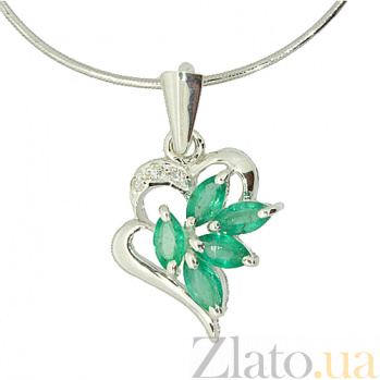 Серебряный кулон с изумрудами и бриллиантами Эмма ZMX--PDE-5005-Ag_K