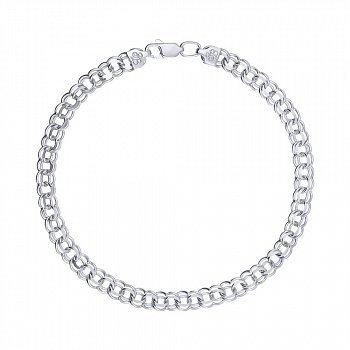 Серебряный браслет в плетении бисмарк 6мм 000148323