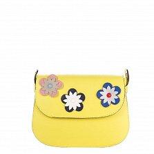 Кожаный клатч Genuine Leather 7801 желтого цвета с декоративными цветами на клапане