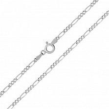 Серебряная цепь Сарагоса с родированием, 2 мм
