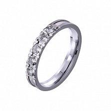 Золотое обручальное кольцо Снег с цирконием