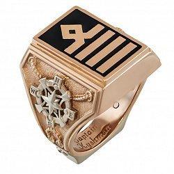 Золотой перстень-печатка Капитан в комбинированном цвете с эмалью, узорной шинкой и гравировкой 0000
