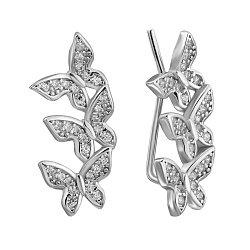 Серебряные серьги-каффы с фианитами 000132432