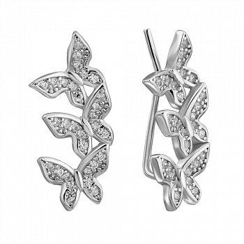 Срібні сережки-кафи з фіанітами 000132432