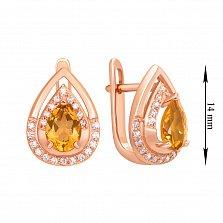 Серьги из красного золота с цитринами и фианитами 000135329