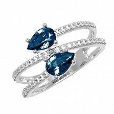 Серебряное кольцо Белла с лондон кварцем и фианитами