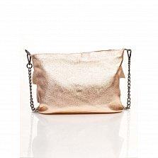 Кожаный клатч Genuine Leather 6504 цвета розовое шампанское с декоративными оборками