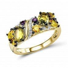 Кольцо из желтого золота Каролина с хризолитом, аметистом, цитрином и бриллиантами