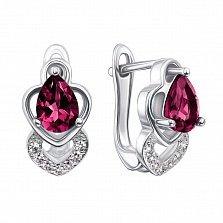 Серебряные серьги с рубинами и фианитами 000133479