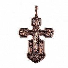 Золотой крест с чернением Благая Весть