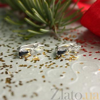 Серебряные серьги с бриллиантами и сапфирами Фаина 000022306