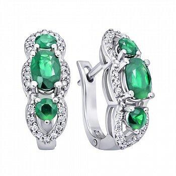 Сережки з білого золота зі смарагдами і діамантами 000140509