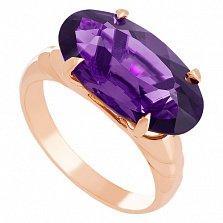 Золотое кольцо Лауретта с синтезированным аметистом