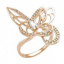 Кольцо в красном золоте Бабочки с фианитами